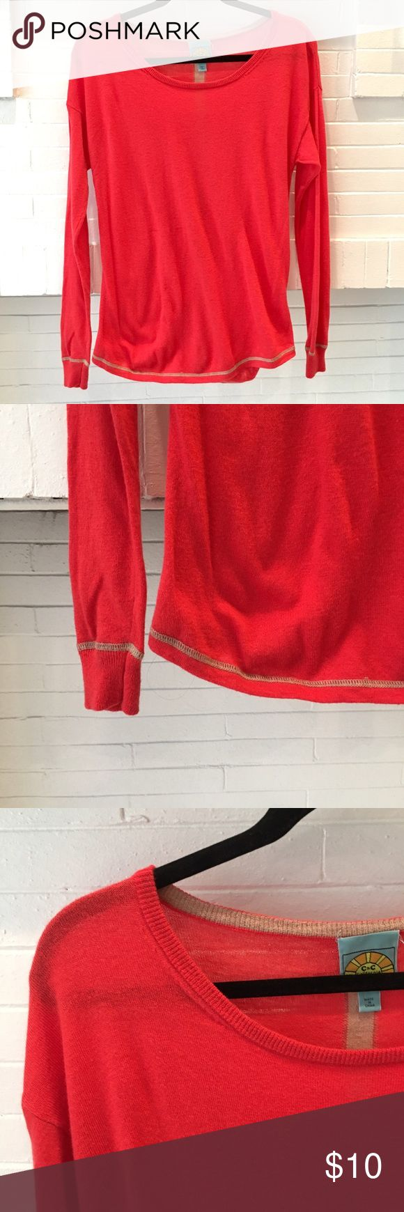 C&C California Light Sweater/Top Lightweight cashmere blend for cool summer nights. Very breezy material. Light enough to wear in spring and summer and transitions into fall and winter. 35% nylon, 35% rayon, 25% wool, 5% cashmere. C&C California Sweaters Crew & Scoop Necks