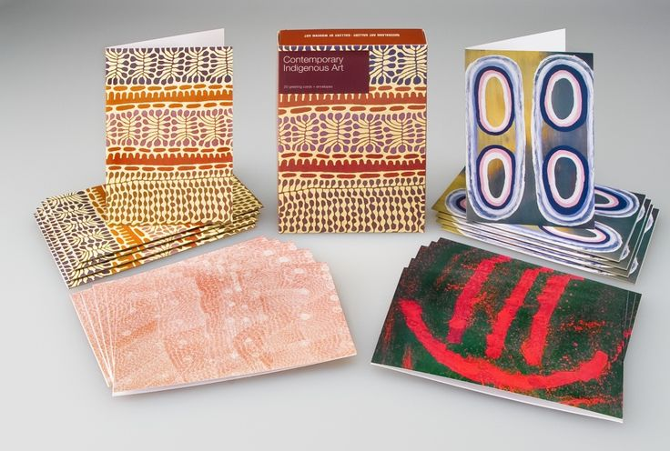 Contemporary Indigenous Art Greeting Card Box // 20 cards featuring work from  Michael Nelson Jagamara, Rosella Namok, Mitjili Napurrula, and Lily Kelly Napangardi // Available in store and online