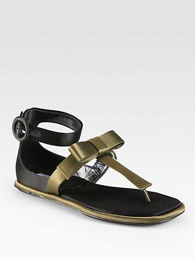Bicolor Satin T-Strap Bow Sandal