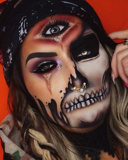 Fortune Teller Skeleton Halloween Makeup Idea