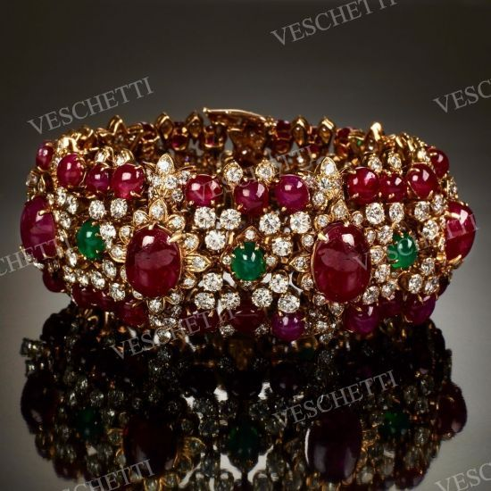 Diamonds, rubies and emeralds bracelet DAVID WEBB