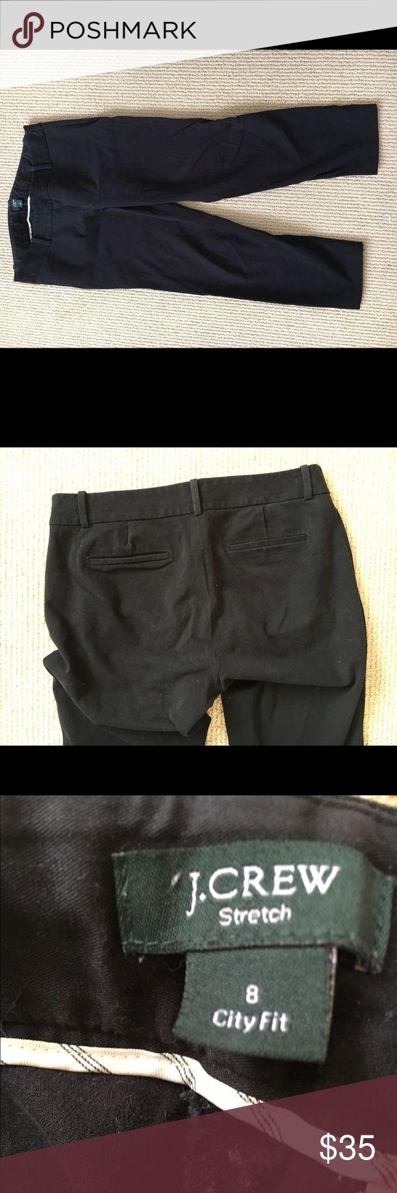 "Rare J. Crew Minnie cropped pant Size 8 Lightly worn black J. Crew Minnie pant. Ultra flattering stretch black pant, midrise. Light fading from wash/wear. Size 8, ""city fit."" J. Crew Pants Skinny"