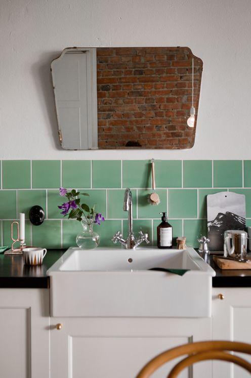 belfast sink, design, tiles, colour, shaped mirror, interiors, brick wall, kitchen