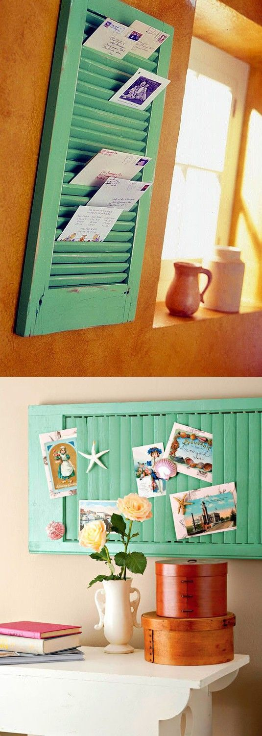 Alte Fensterläden als coole Pinnwand für Karten und andere schöne Dinge