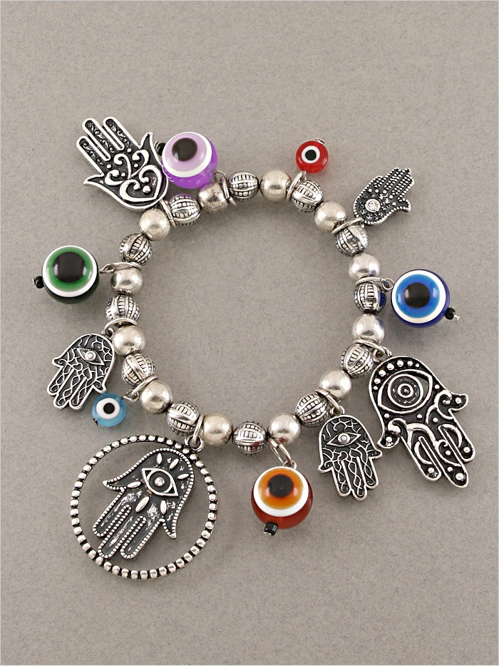 Silver Hamsa & Evil Eye Charm Bracelet
