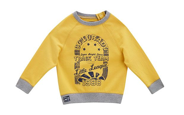"Varsity Inspired Jumper. ""Active little boys will love getting up to mischeif in this varsity inspired sweatshirt."""