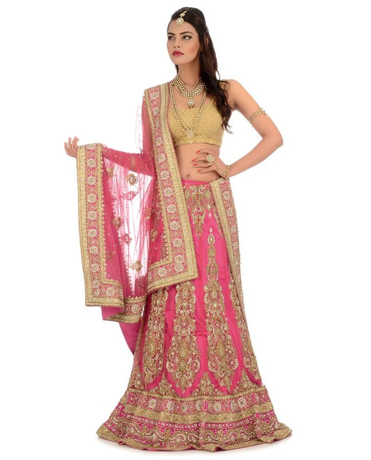 Rose Pink Heavily Embellished Lengha Set - Buy Wedding Online | Exclusively.in