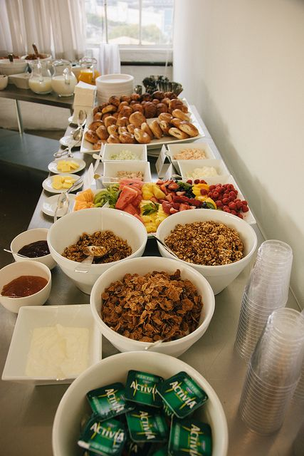 Alt Summit 2012_NYC by ALT Summit on Flickr. Breakfast buffet. Bagels, croissants, flavored cream cheese, butter, yogurt, toppings, milk, juice, fruit