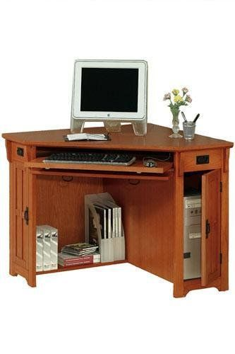 Small Corner Desk Computer W Compartment 30 Hx50 Dark Oak Office Pinterest Home Decor And