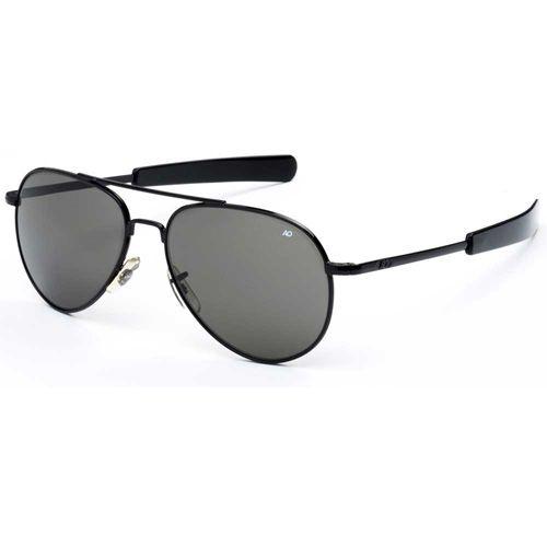 AO Eyewear General Black Frame Bayonet Temple True Color Gray Glass Lens Sunglasses