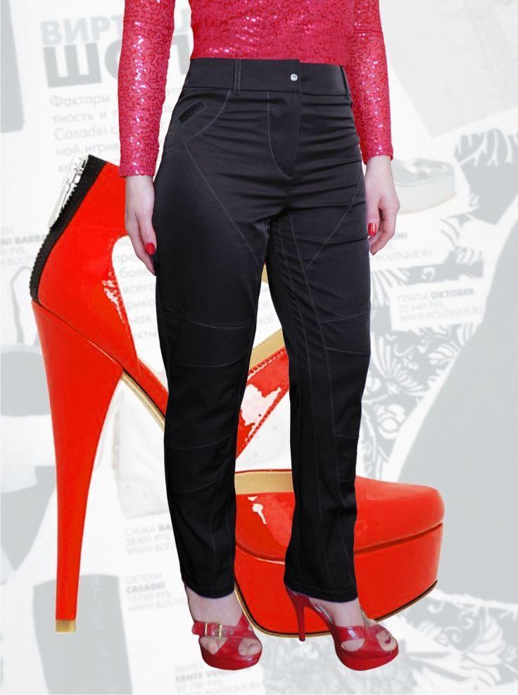 57$ Стильные брюки для полных девушек зауженные к низу с силуэтом по типу джинс Артикул 579, р50-64 Брюки деловые большие размеры  Брюки офисные большие размеры  Брюки черные большие размеры