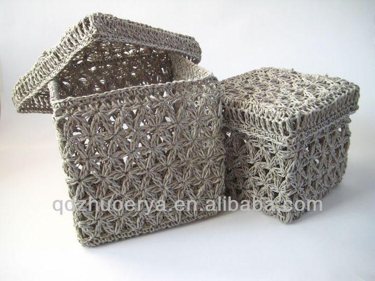 17 melhores imagens sobre caixas de crochet no pinterest - Cestas de ganchillo ...