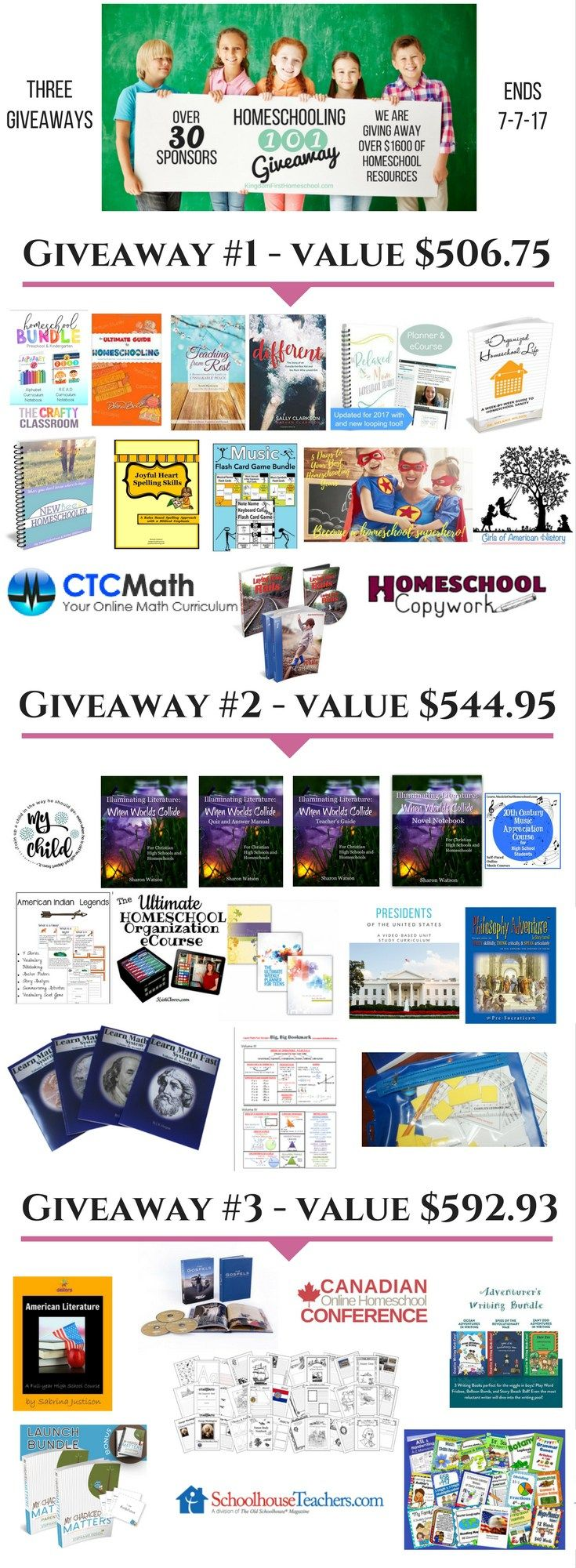 We are giving away over $1600 in homeschooling resources!  3 amazing homeschool giveaways for you! Click to enter all three now!