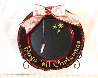 Countdown until Christmas Chalkboard Charger Plate with Bow and Chalk