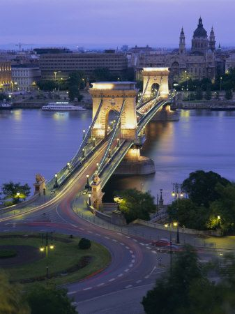 Chain Bridge Over the River Danube and St. Stephens Basilica, Budapest, Hungary, Europe