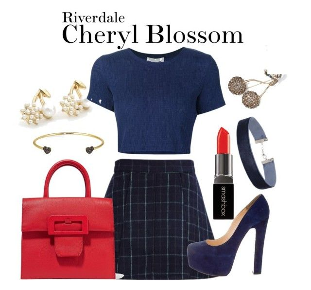 Cheryl Blossom Riverdale by sparkle1277 on Polyvore featuring polyvore, Mode, style, Sea, New York, Christian Louboutin, Maison Margiela, Cheermo, Miss Selfridge, Banana Republic, Kacey K Fine Jewelry, Smashbox, fashion and clothing