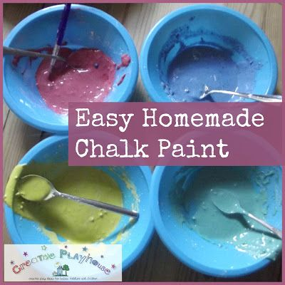 Creative Playhouse: Easy Homemade Chalk Paint also - use chalk to colour