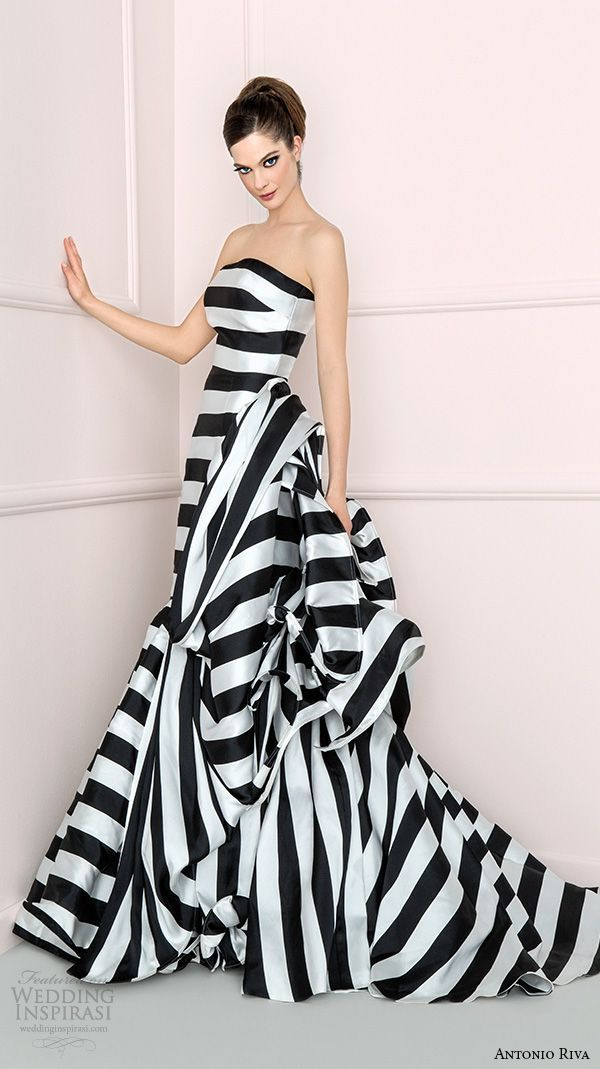 antonio riva 2016 bridal dresses strapless straight across neckline black white stripes colored fit to flare wedding dress albabn: