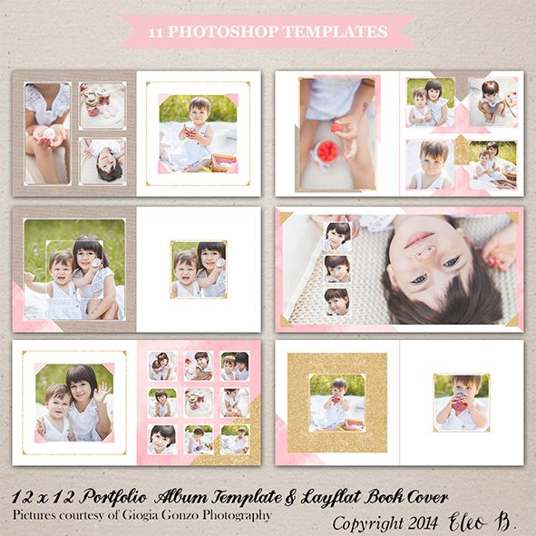 12x12 Portfolio Album Template - Photoshop Template - A003 - instant download  SHOP AT: etsy.com/shop/eleob SEARCH WITH THE CODE   Pictures by Giorgia Gonzo Photography  Models Martina, Giada and Vanessa #PSD #photography #photoshop #template #marketing #free #fonts #etsy #eleob #12x12 #album #book #layflat #cover #glitter #watercolor #texture #kids #portfolio
