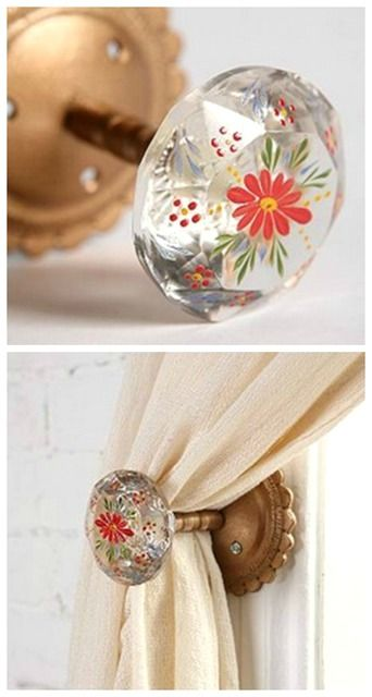 Inspiration - turn simple-looking glass knobs into something cool with paint. You can use them as furniture knobs, tie backs and more.