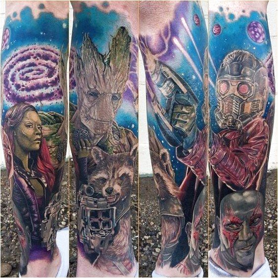 Guardians of The Galaxy tattoo sleeve. – Marvel Tattoos Thatll Make You Want to …