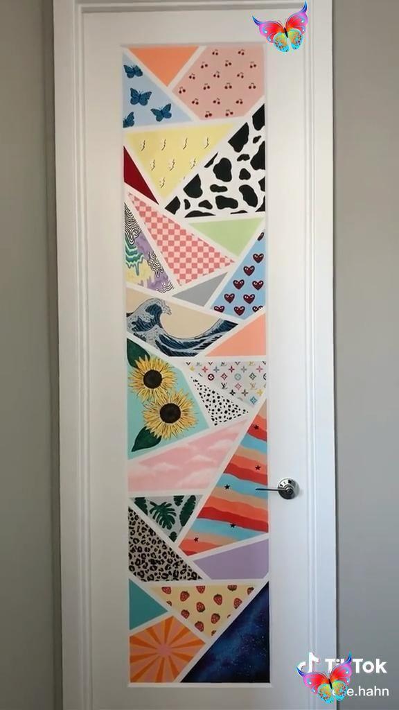 Tiktok Painting Aesthetic Painting Wall Wallart Bedroom Br Painted Bedroom Doors Aesthetic Room Decor Cute Bedroom Decor