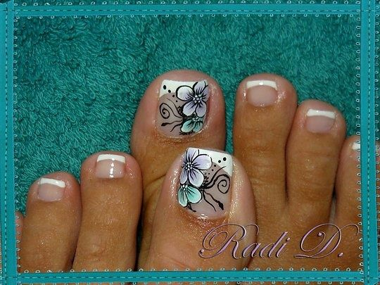 I usually dont like overly decorated toe nails but this is super cute!   See more nail designs at http://www.nailsss.com/acrylic-nails-ideas/2/