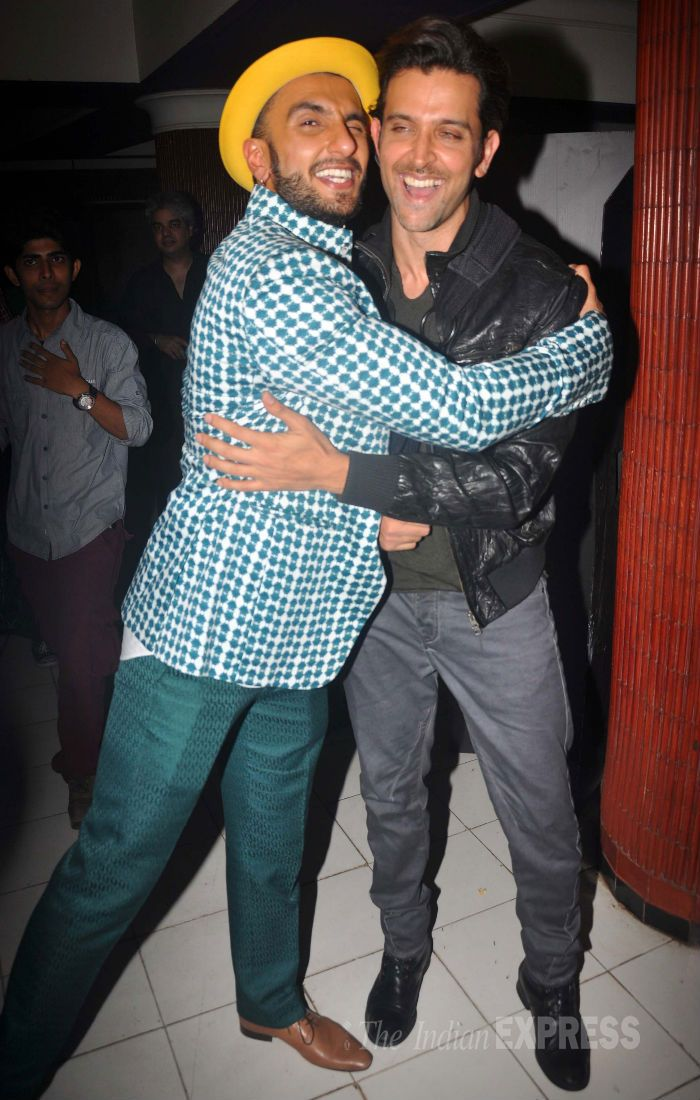 Ranveer Singh and Hrithik Roshan at the screening of 'Kill Dil'. #Bollywood #Fashion #Style #Handsome