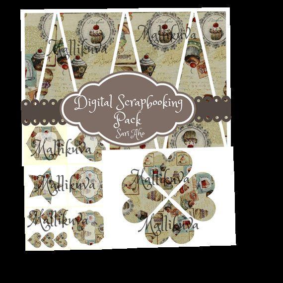 Digital scrapbooking pack by ZaraTreasures on Etsy