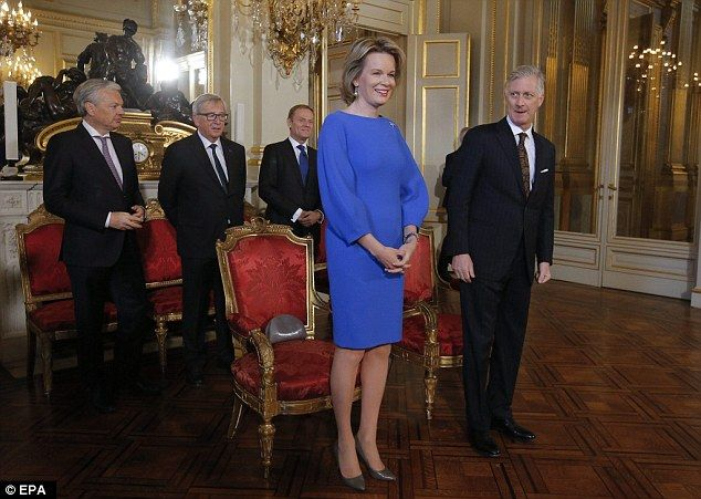 Belgium Queen Mathilde (L front) and King Philippe, joined (Back L-R) Belgian Foreign Minister Didier Reynders, European Commission President Jean-Claude Juncker, and President of the European Council, Donald Tusk