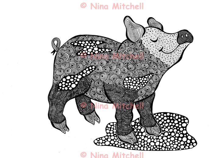 NM - bw - Proud Pig zentangle