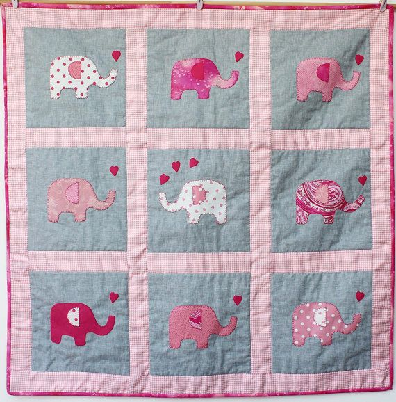 pink elephant play mat baby quilt cot crib bed by RosieFreckles