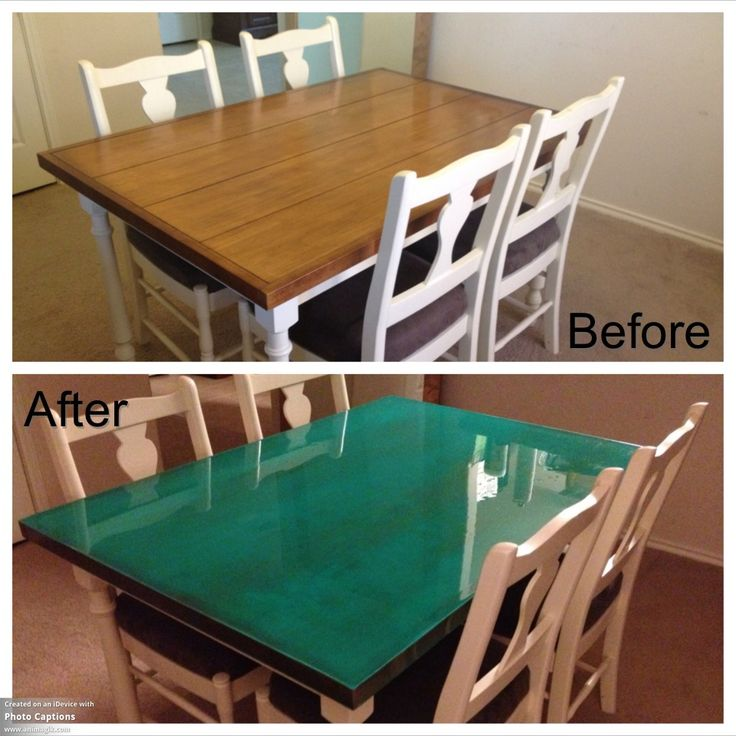 Dining table makeover DIY: used artist's oil paint to dye epoxy resin then poured on wood surface