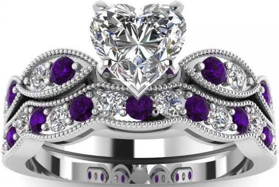 White Gold Wedding Ring Sets Crystals Wedding Rings Heart