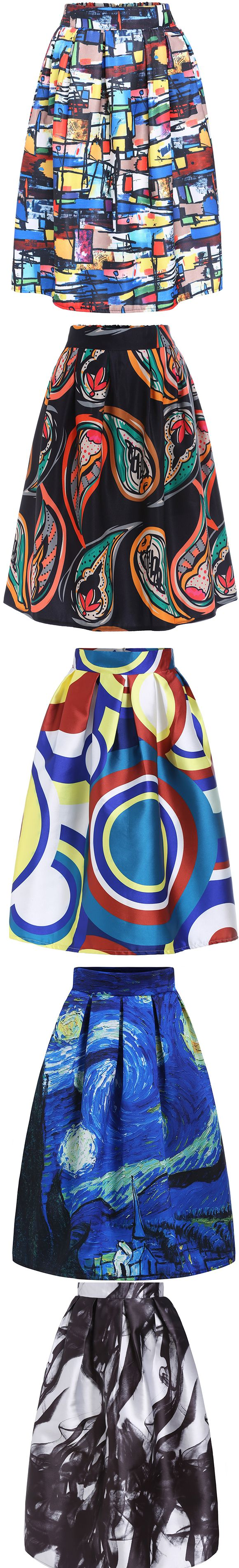 Multicolor vintage print midi skirt.  Best skirt for spring/fall.  Find more from SheIn.com
