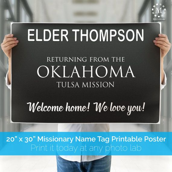 DIGITAL FILE - LDS Missionary Welcome Home Poster -  Missionary Name Tag Sign for Elders and Sisters