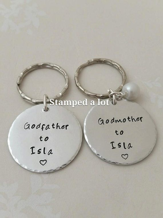 Gifts for Godparents personalised keyring Godmother by StampedALot