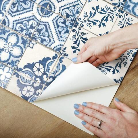 Blue Mosaic Tile Peel And Stick Wallpaper Peel And Stick Wallpaper Mediterranean Tile Peel And Stick Tile