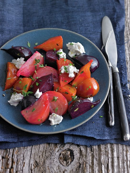 Roasted Beet Salad with Goat Cheese and Herbs. food salads sides