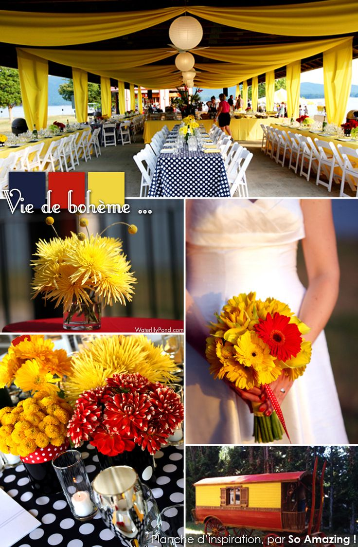 Decoration mariage exterieur plein air jaune rouge bleu for Table exterieur jaune