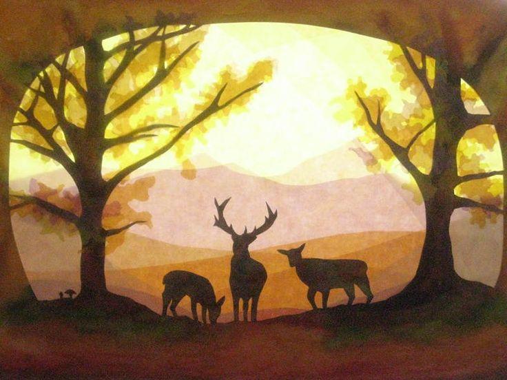 Fensterbilder Hirsche im Herbst Wald von Art 4 Windows auf DaWanda.com
