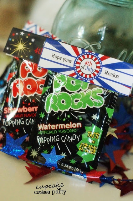 Cupcake Cutiees: 4th Of July Party Printable- Pop Rock Fold over Labels