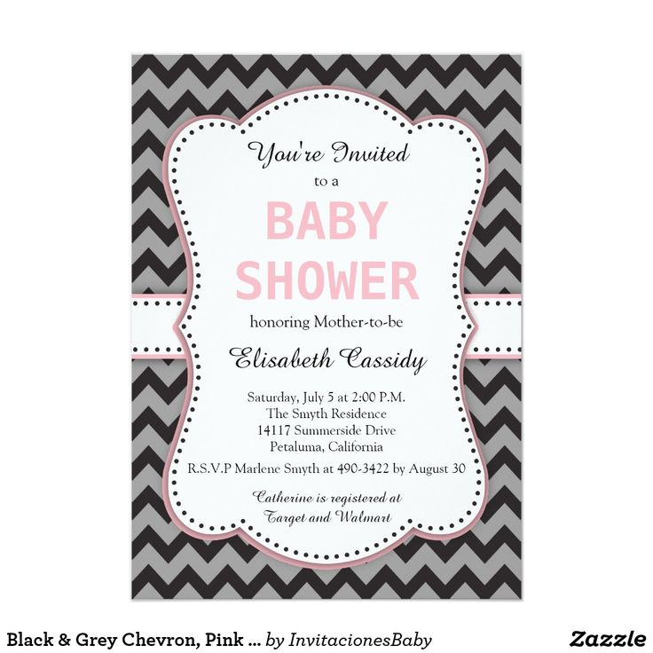 Black & Grey Chevron, Pink Baby Shower Invitation