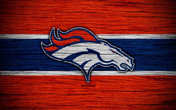 Lataa kuva Denver Broncos, NFL, 4k, puinen rakenne, Amerikkalainen jalkapallo, logo, tunnus, Denver, Colorado, USA, National Football League, American Conference