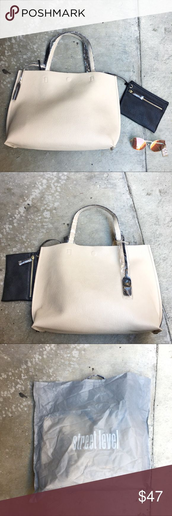 Cream Tote Bag Sunglasses for size reference Street Level Bags Totes