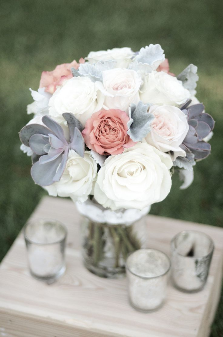 really like the grey and white with the pop of blush.