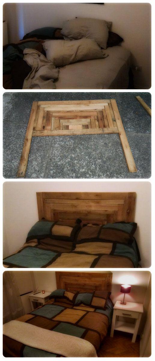 Respaldo de cama con madera reciclada parte i cama - Dormitorios reciclados ...