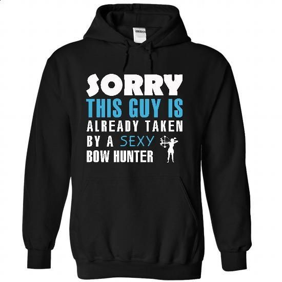 This guy is Taken by a Bow hunter - #dress shirts #shirts for men. CHECK PRICE => https://www.sunfrog.com/LifeStyle/Taken-by-a-Bow-hunter-1942-Black-21153114-Hoodie.html?60505