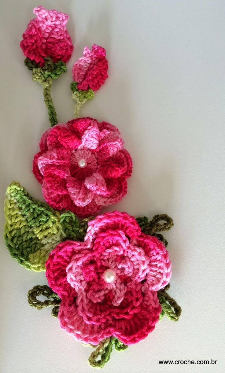 154 besten Flores e folhas de croche Bilder auf Pinterest ...
