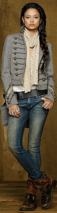 High Sole Leather Boots Skinny Jeans and Lace Scarf Click for more